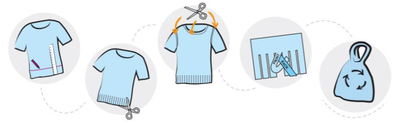 Illustrated steps of making a t-shirt bag