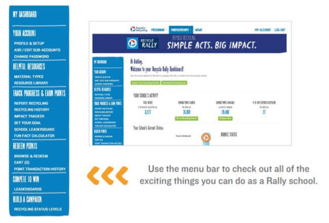 Screenshot of Recycle Rally dashboard and menu bar (Recycle Rally Getting Started Guide)