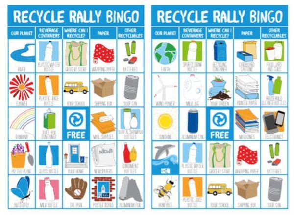 Recycle Rally Bingo Cards