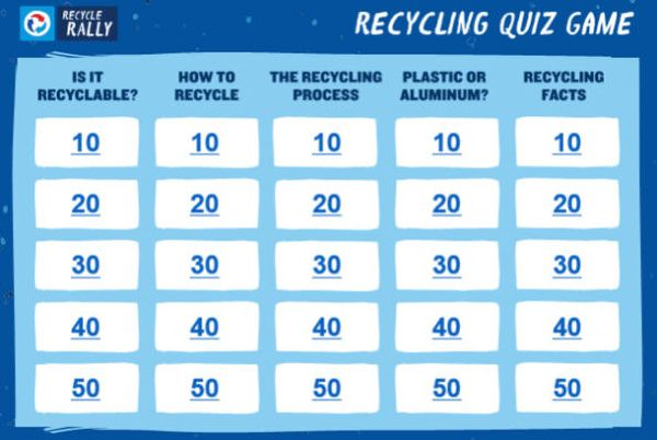 Quiz Show Recycling Game board