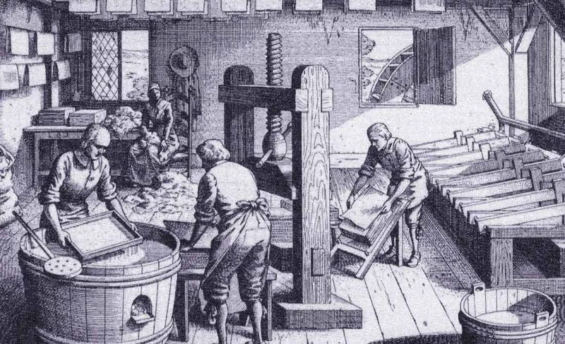 Black and white drawing of an early paper mill from Denis Diderot's Encyclopedie 1951