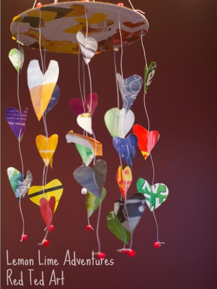 Mobile made of paper hearts from magazines and newspapers (Reuse Materials For Art)