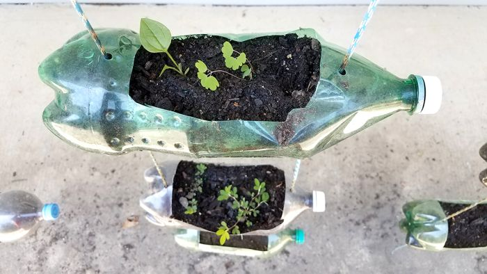 Hanging planters made from large plastic bottles (Reuse Materials For Art)